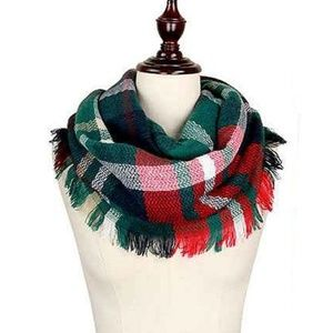 🆕️Red, Green & White Plaid Infinity Scarf